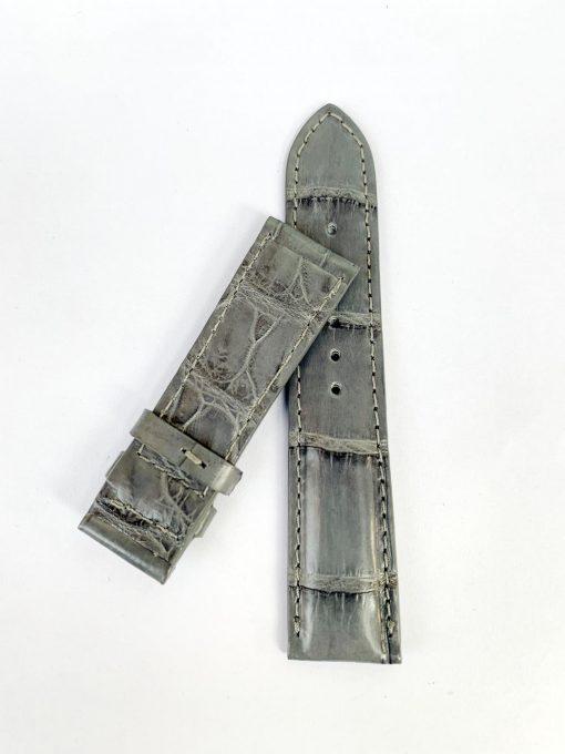 dây da cá sấu 2 mặt màu xám
