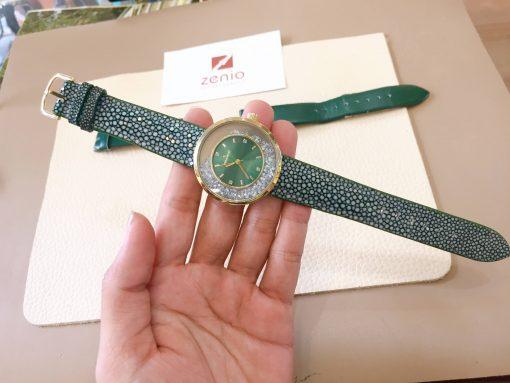dây đồng hồ da cá đuối xanh lá