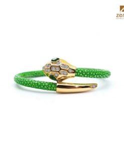 vòng tay da cá đuối charm snake head